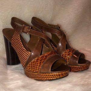 Tory Burch Brown snakeskin Block Heels